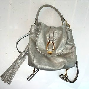 GILI silver leather backpack mini with tassel 11x9